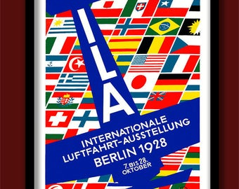 Art Deco Poster. 1928 Berlin Air Show. Vintage stamp poster. Aviation poster. Flags print.A2 poster. Stamp print. Art Deco poster. Flying.