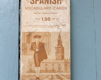 Spanish Lesson... Vintage Spanish Vocabulary Cards, Flash Card Set,  Language Learning, Educational Tools