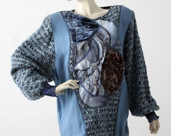 1980s velour patchwork blouse , oversize blue top