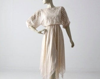 SALE 1970s dress, sheer handkerchief hem floral dress