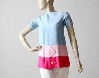 SALE mod mini dress, vintage 60s color block blouse