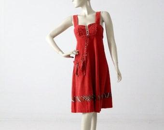 SALE 1970s corduroy romper dress, vintage cord jumper dress