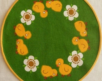 Vintage Danish small round tablecloth for Easter