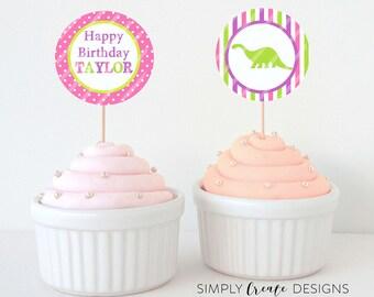 SALE Dinosaur Cupcake Toppers DIGITAL File 8.5  x 11 JPEG File Personalized