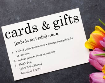 Cards and Gifts Sign, Bridal Shower Decoration, Wedding Signage, Party Decor, Dictionary, Typography - Size 5 x 7, Printed Sign, DFNKTP