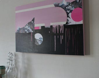 Pink Mountain View Painting and Collage on canvas