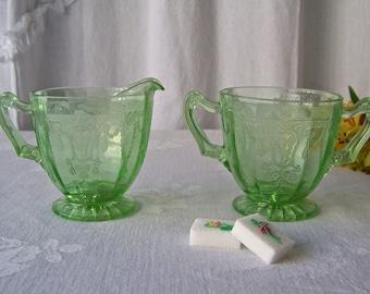 Vintage Sugar Creamer Vaseline Glass Green Depression Glass Cameo Ballerina Dancing Girl Hocking 1930s
