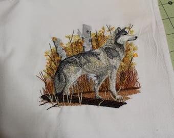 Wolf in Autumn machine embroidery, flour sack dishtowel