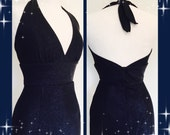 Vintage 1950s inspired midnight blue sparkly deadstock lurex cocktail hourglass wiggle dress XS to XL Rockabilly VLV