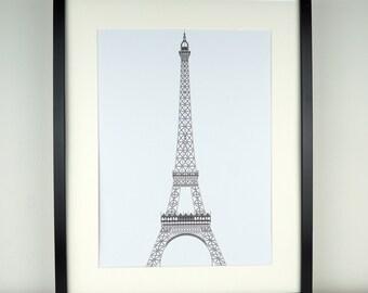 Paris Print, Eiffel Tower art print, minimalist print, wall art, French art, Picture of Eiffel Tower, travel, buildings, architecture