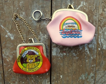 Set of Two Souvenir Wallets - Change Purse Kitschy Coin Purse