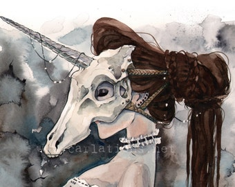 Unicorn Skull Mask Victorian Masquerade watercolor art print Carla Wyzgala carlations