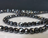 Full strand A grade 4 mm Black Hematite Stone Faceted Round Beads - 64 faces Natural Color - Non Magnetic - Healing Stone (MJ4HM15)