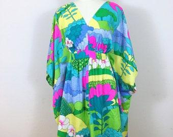 1960's psychedelic graphic print kimono mini dress size small medium