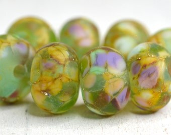 lamp work beads...SRA handmade, pale green pastel shades of lampwork beads, earthy colors, beads set of (8) for making jewelry 111416-8