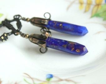 Industrial Garden Earrings - Antique Vintage Old Blue Glass Daggers