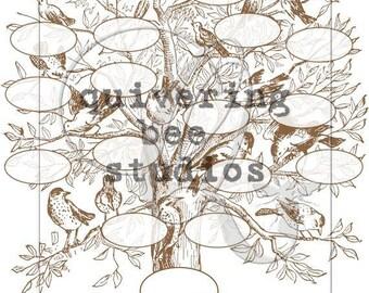 Printable Family Tree Template Digital Download genealogy chart family reunion tree scrapbooking photo album baby book wedding album no 0012
