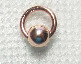 Nail Dangle - Rose Gold Filled 3mm Bead and Ring