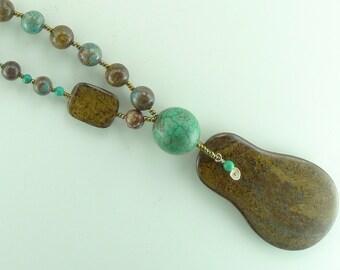 Bronzite, Blue Sky Jasper, Turquoise Asymmetrical Chakra Necklace All Natural Semi-Precious Stones Healing Metaphysical
