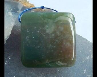 Moss Agate Gemstone Pendant Bead,36x6mm,20.8g(c0828)