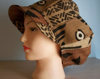 African Mudcloth Newsboy Apple Hat with Brim Brown Tan Rust