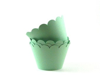 Mint Green Cupcake Wrappers Cupcake Wraps Party Supplies Seafoam Table Decor Set of 12