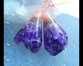 Drusy Amethyst Gemstone Earring Bead,28x16x16mm,12.2g