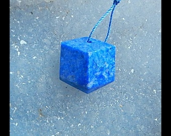 Handmade Natural Lapis Lazuli Faceted Pendant ,Charm Beads Supply,19x17x9mm,4.9g