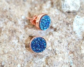 Blue Sapphire Tiny Druzy Studs. 18k Rose Gold Earrings. Titanium Druzy Earrings.  Bridesmaid Bridal Jewelry. Raw Gemstone Something Blue.