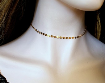 Gold Round Disc Coin Choker. 14k Gold Filled Sequin Layering Necklace. Dainty  Delicate Chain, Rose gold. Simple,Everyday,Minimalist