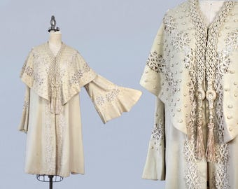 RARE 1910s Coat / Edwardian Cream Wool and Battenburg Lace Coat / Antique Wedding Coat / Bell Sleeves / Cape Collar / Tassels