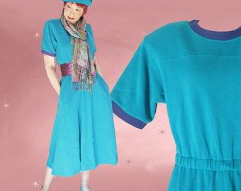 Tea Length Dress, Casual Knit Dress, Mid Length Dress, T Shirt Bodice, 80s Lesley Fay Dress with Pockets, Modest Midi Dress, New with Tags