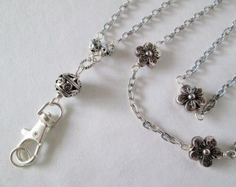 silver flower beaded lanyard, ID badge holder, ID chain, 2016 - 2017 fashion trends, office fashion, Holiday gift idea
