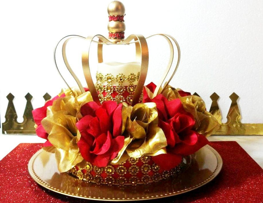 new red and gold baby shower crown centerpiece boys red and. Black Bedroom Furniture Sets. Home Design Ideas