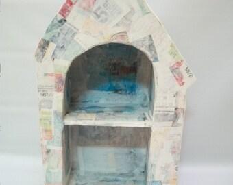 Craft Supplies, Handmade Paper Mache Shrine/Niche, Display Box, House Shape Display Box, Paper Mache House Art, Mix Media Supply, Art Supply