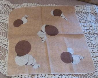 Kit Ann // Beautiful Beige Cotton Hankie Handkerchief - Signed Designer
