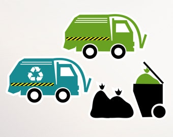 Garbage Truck Birthday Cut Outs for Party Centerpieces