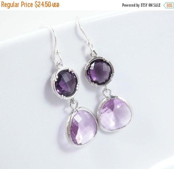 Purple Amethyst Earrings Lavender Glass Sterling Silver