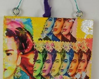 Clearance Sale 50 % Off Frida Kahlo Key Holder Kitchen Utensil Organizer Urban Gypsy Handcrafted Wall Decor