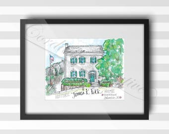 James K. Polk Home watercolor illustration print 8x10 inches,  digitally printed on white linen card stock, in historic downtown Columbia TN