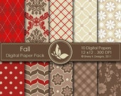 40% off Fall Paper Pack - 10 Printable Digital Scrapbooking papers - 12 x12 - 300 DPI