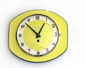 Large French vintage 1950 wall Clock, yellow,  original 50th laminate , Wall Clock yellow Formica Mid Century Retro Mechanical Mechanism