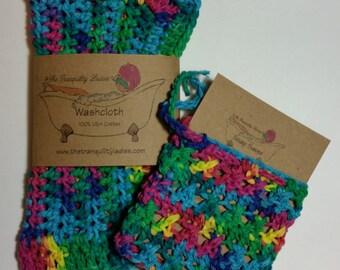 Crochet Washcloth and Soap Saver Set 100 % USA Cotton Psycedelic