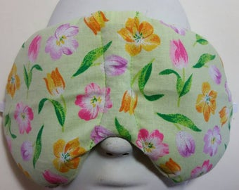 Herbal Hot/Cold Therapy Sleep Mask with adjustable and removeable strap Spring Tulips