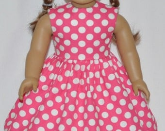 Pink White Polka Dot Doll Dress Made To Fit 18 Inch American Girl Doll Clothes
