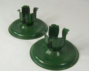 ON SALE 2 Vintage Green Metal Candleholders Stamped Steel Green Enamel Paint Leaves Holder