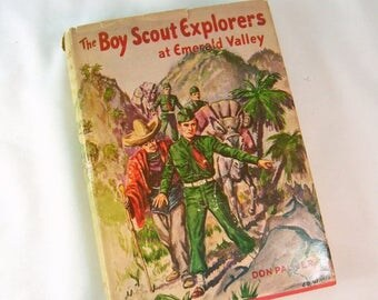 ON SALE Vintage The Boy Scout Explorers at Emerald Valley Hard Cover HC Dj Dust Jacket