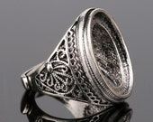 4pcs Antiqued Silver Color  Alloy Metal  Adjustable  Rings 15x20mm Oval Cameo Setting