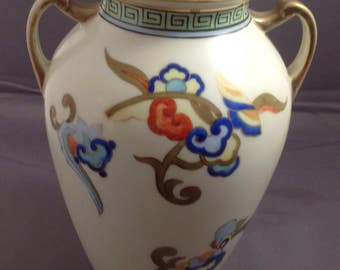 "7 1/2"" Nippon Handled Vase 1910 FREE SHIPPING"