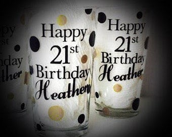 Birthday Pint Glasses, set of 2 personalized beer gifts